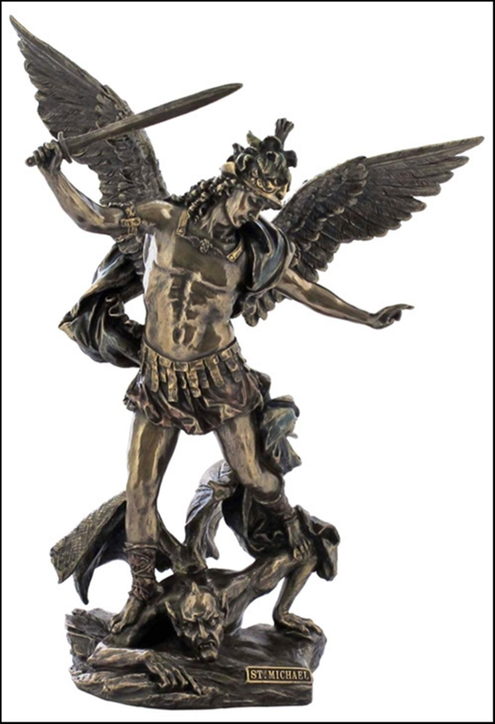 ST. MICHAEL WITH HELMET AND SWORD SLAYING THE DEMON Art