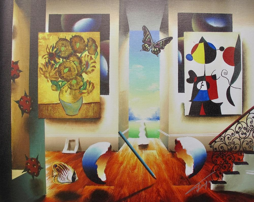 FERJO MIRO AND SUNFLOWERS Hand signed Limited Edition Giclee on Canvas