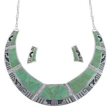 Turquoise Southwest Sterling Silver Water Wave Necklace And Earrings Set