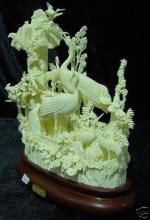 Hand Carved Bone Cranes Mountain