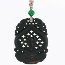 Untreated  Black Nephrite Pendant