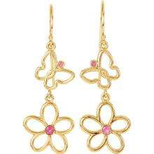 14K Yellow Pink Tourmaline Floral-Inspired & Butterfly Design Earrings