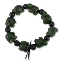 Untreated Natural Black Nephrite Bracelet