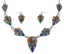 Mother Of Pearl Multicolor Sterling Silver Link Necklace Set