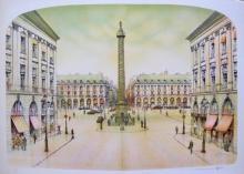Rolf Rafflewski Paris Place Vendome Hand Signed Limited Edition Lithograph