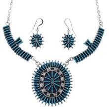 Silver Turquoise Southwest Link Necklace And Earrings Set