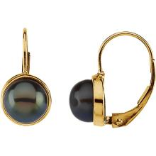 14K Yellow 7-7.5mm Black Freshwater Cultured Pearl Lever Back Earrings