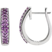 Amethyst in 14kt White Gold Hoop Earrings