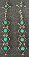 Long Zuni 5pc Turquoise Shadowbox Earrings By V.booqua