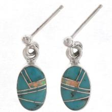 Turquoise Opal Dangle Earrings Inlaid Silver Posts
