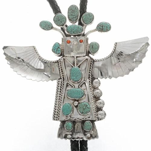 Vintage Turquoise Kachina Bolo Tie Large Eagle Dancer Signed