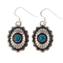 Turquoise Concho Earrings Navajo Silver French Hooks