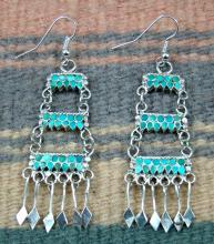 Zuni High End Three Tier 66ct Turquoise Chandelier Earrings By R.shetima
