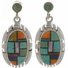 Turquoise Inlaid Post Dangle Earrings Multicolor Silver