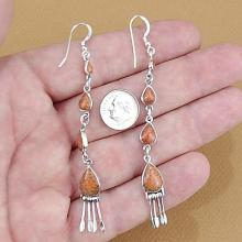 Apple Coral and Sterling Silver French Hook Dangle Earrings