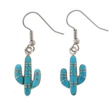 Turquoise Silver Earrings Inlaid Cactus French Hooks