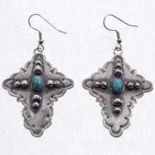 Turquoise Cross Earrings Silver Navajo French Hooks