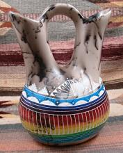 Lg Navajo Colorful Horsehair Wedding Vase Pottery By Marshalene Bennett