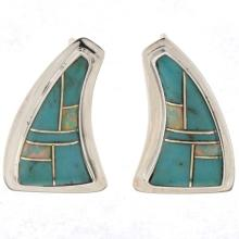 Inlaid Turquoise Opal Post Earrings Silver Shield Shape