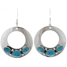 Natural Turquoise Silver French Hook Earrings Navajo Open Circles