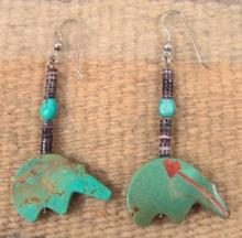 Lg Zuni Carved Turquoise Medicine Bear W/coral Inlay Heartline Earrings