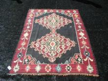 Vintage Wool Kilim Rug Slit Woven 6 x 8 Feet