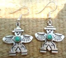 Navajo Turquoise Closed Eye Knifewing Earrings By V.begay
