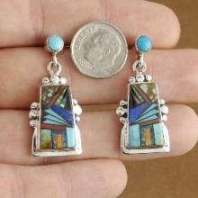 Inlaid Turquoise Semi Precious Stone Santa Fe Sterling Silver Post Earrings