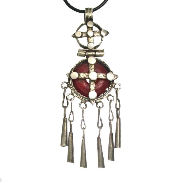 Amber and Silver Coptic Cross
