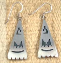 Large Hopi Silver Overlay Earrings By Honie