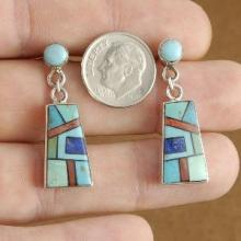 Inlaid Turquoise and mixed Gem Stone Santa Fe Sterling Silver Post Earrings by Shawn Doherty