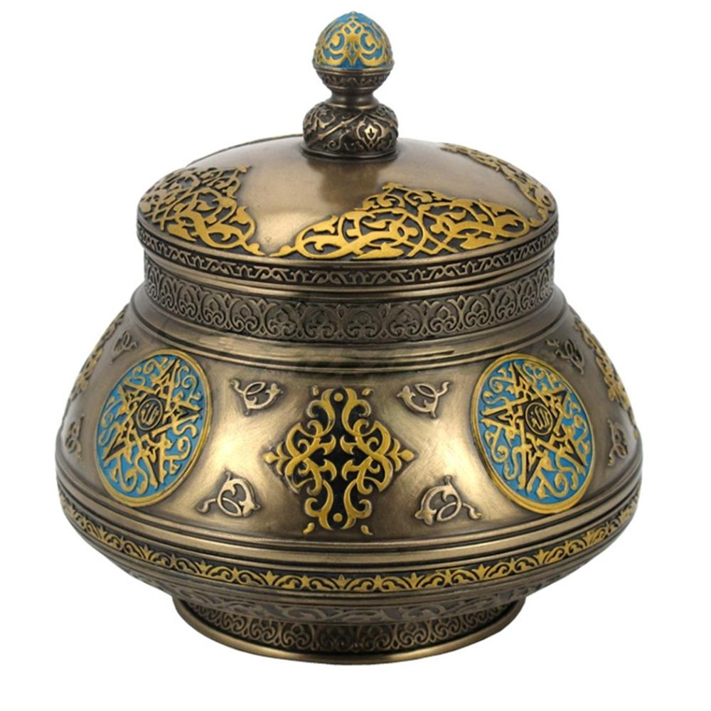 Arabesque Pattern Round Jar With Lid And Star Designs