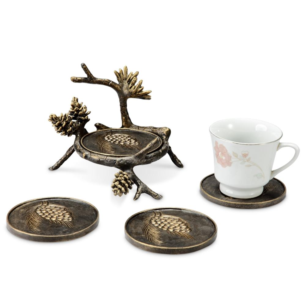 Pinecone and Branch Coaster Set