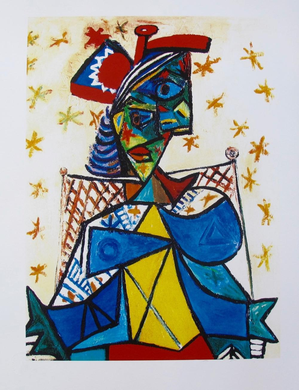 Pablo  Picasso Seated Woman With Red And Blue Hat