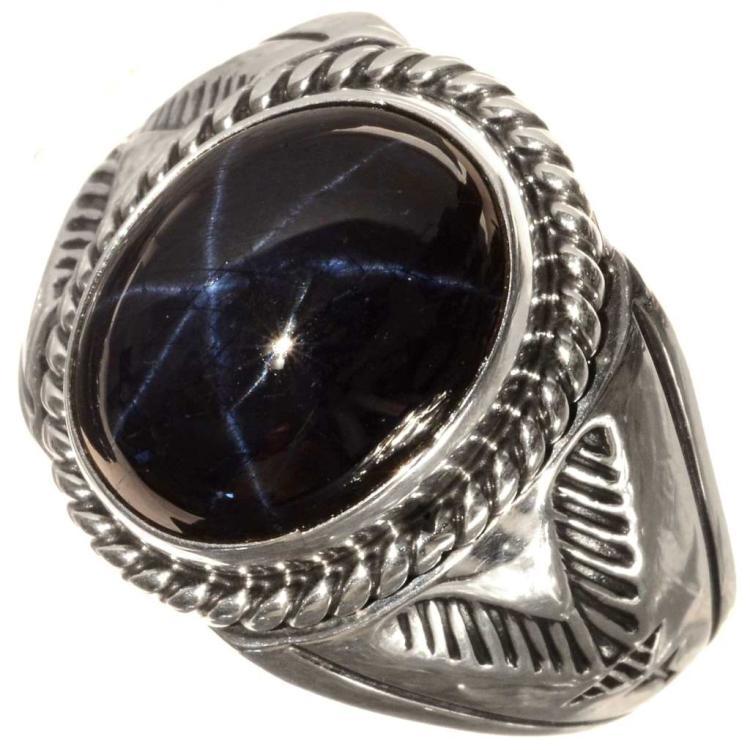 sapphire silver mens ring navajo big boy style