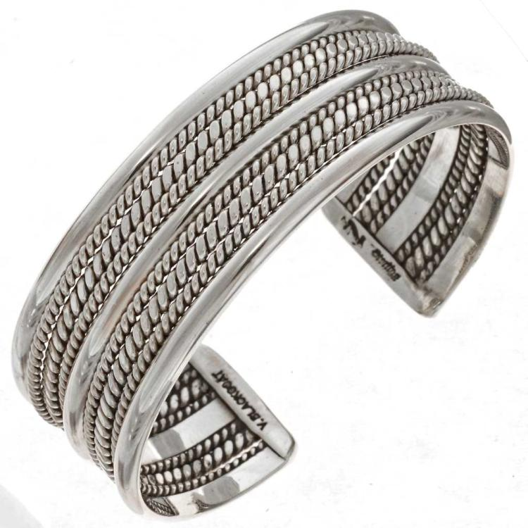 Navajo Silver Twist Wire Cuff Handmade Wide Bracelet