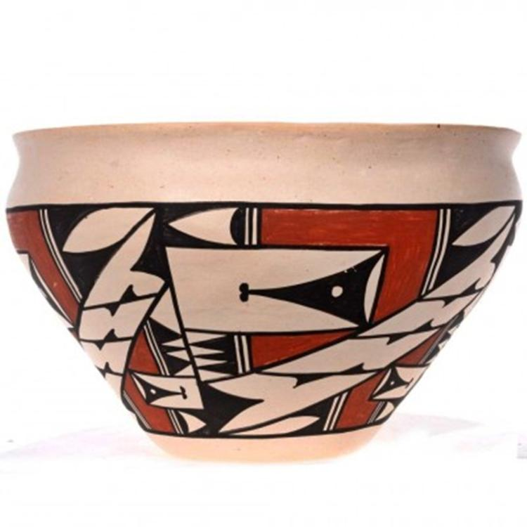 plate hair style acoma laguna pottery pueblo dough bowl signed 4288