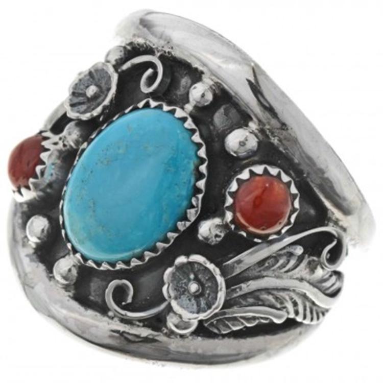 kingman turquoise coral mens ring silver big boy 9 t