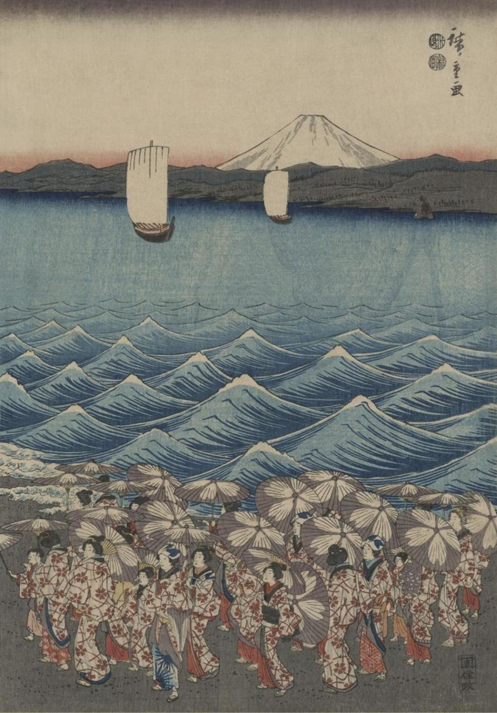 ANDO HIROSHIGE - OPENING CELEBRATION OF BENZAITEN SHRINE AT ENOSHIMA IN SOSHU.