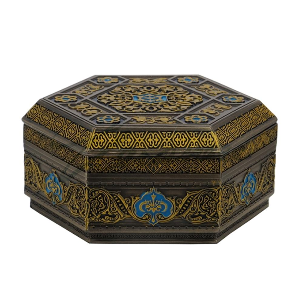 Arabesque Pattern Flat Lid Hexagonal Trinket Box