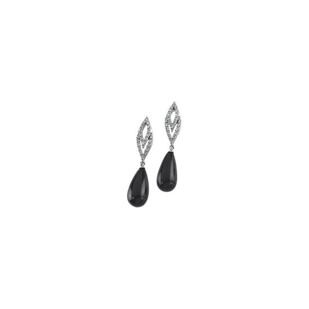 14K White 1/4 CTW Diamond & Briolette Onyx Earrings