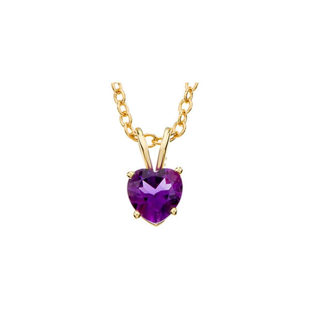 "14K Yellow 6mm Amethyst Heart 18"" Necklace"