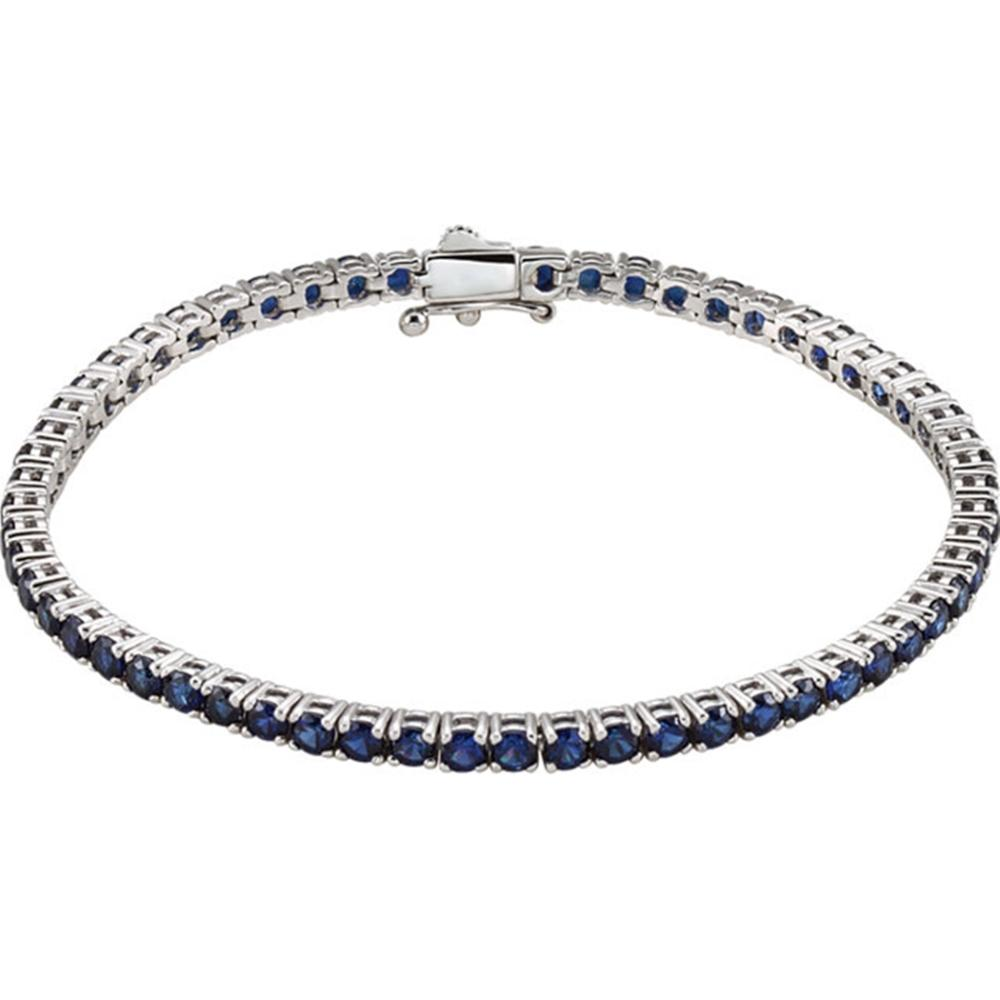 "14K White Lab-Grown Blue Sapphire Line 7.25"" Bracelet"
