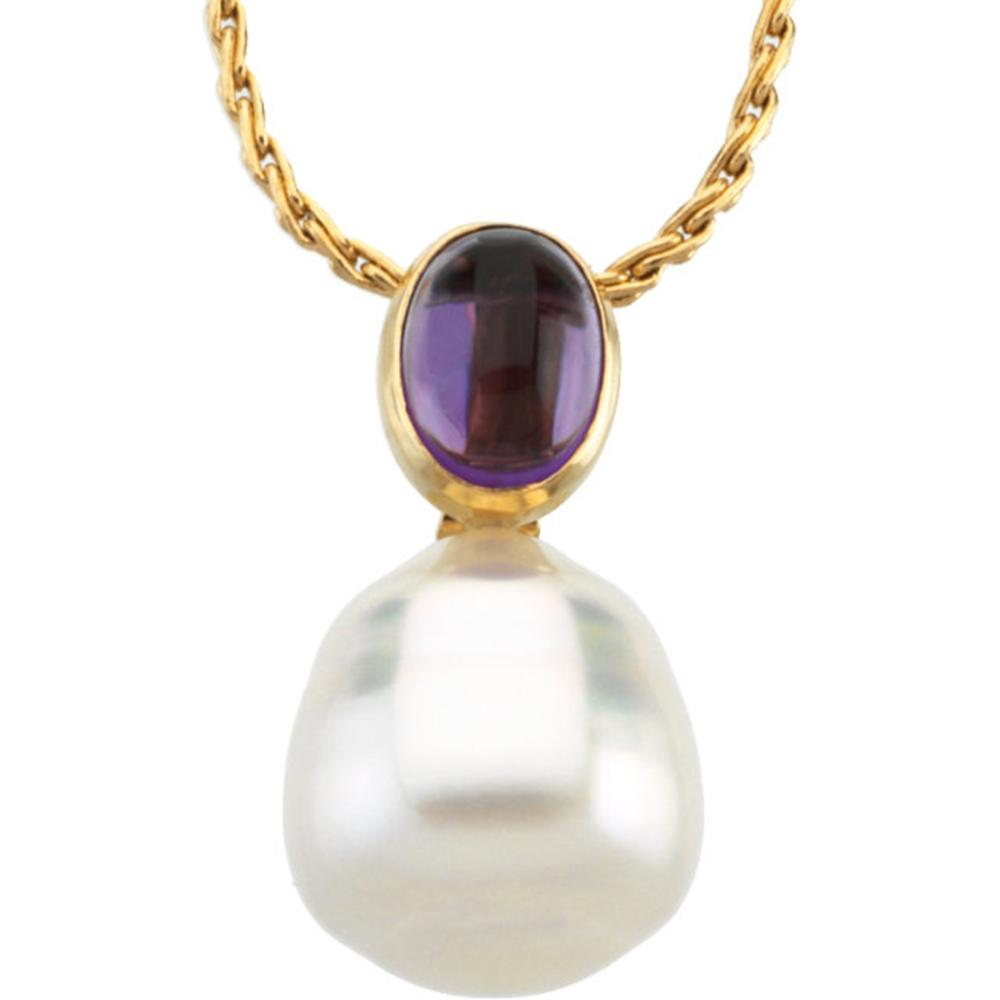 14K White 8X6mm Amethyst & 12mm South Sea Cultured Circlé Pearl Pendant