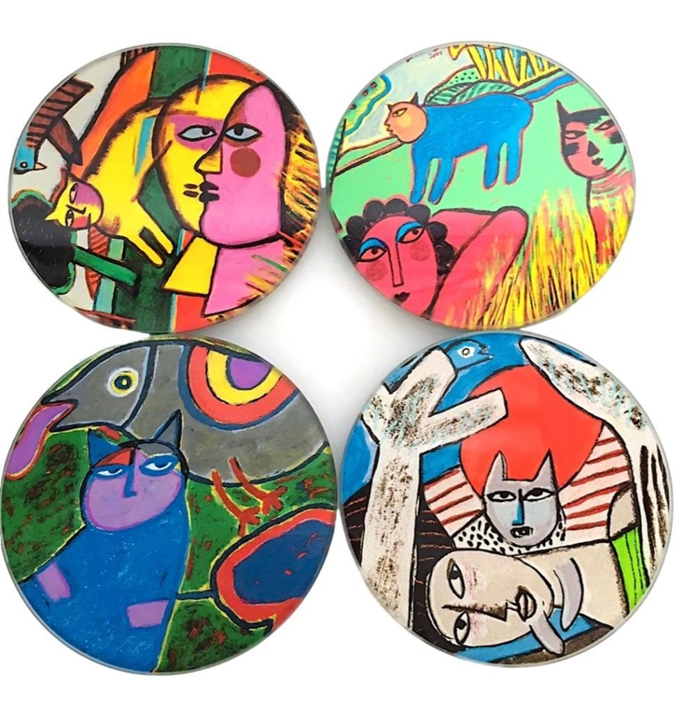 Corneille Cat Abstract Paintings Bar Drink Glass Coasters Set of 4