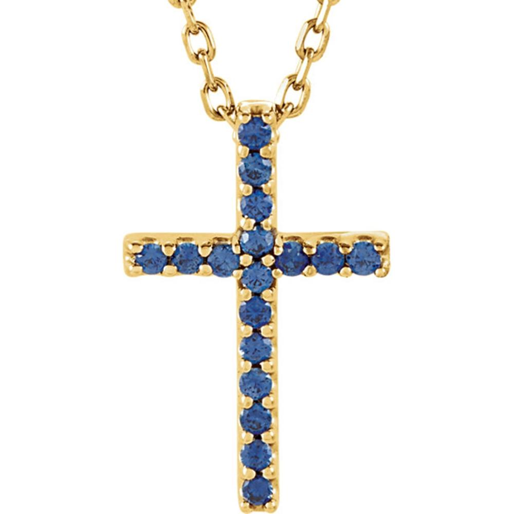 "14K Yellow Blue Sapphire Cross 16"" Necklace"