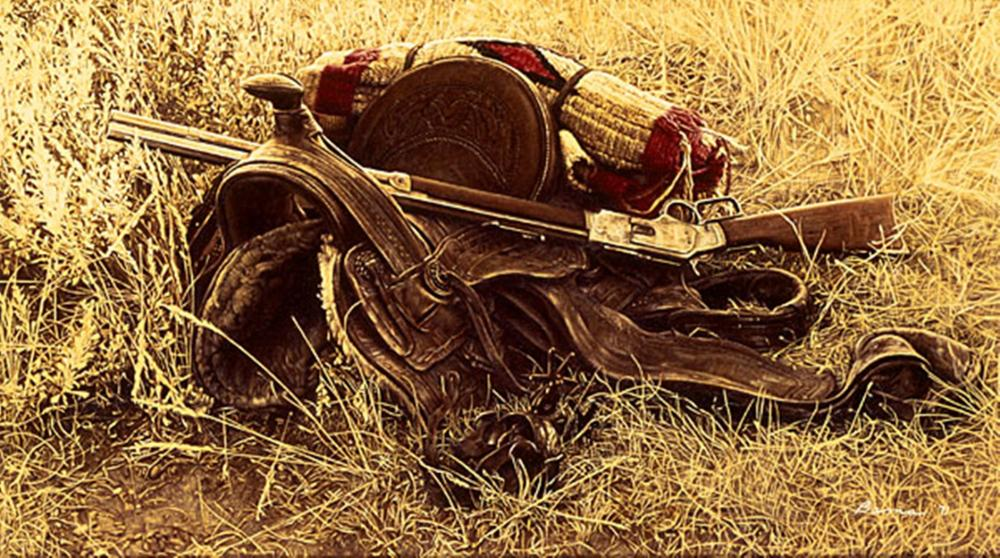 James Bama…1880s Still Life Of Saddle And Rifle