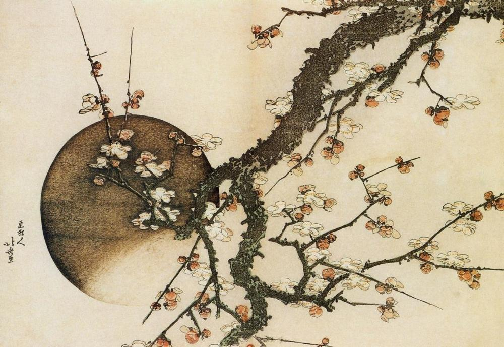 HOKUSAI - PLUM BLOSSOM AND THE MOON 1803