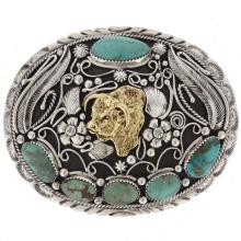 Western Sterling Silver Turquoise Hereford Bull Belt Buckle Verna Blackgoat