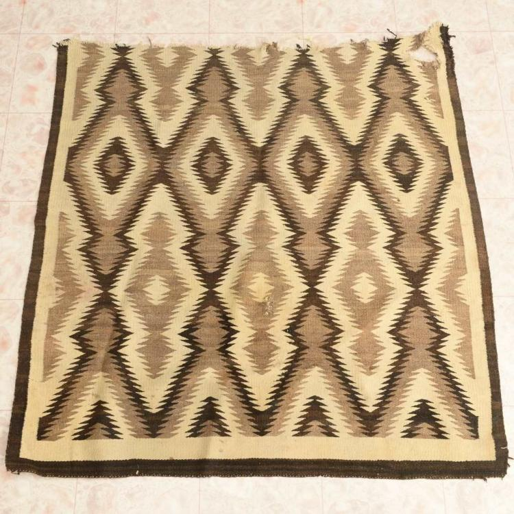 Old Navajo Rug Remnant Authentic Wool Weaving